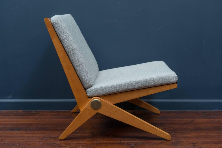 Mid-Century Modern Pierre Jeanneret Scissor Chair for Knoll International, 1957 For Sale