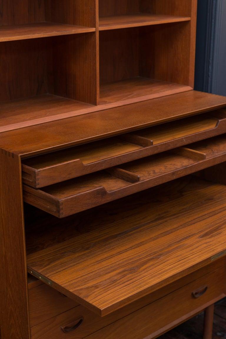Teak Peter Hvidt & Orla Mølgaard Secretary Bookcase For Sale