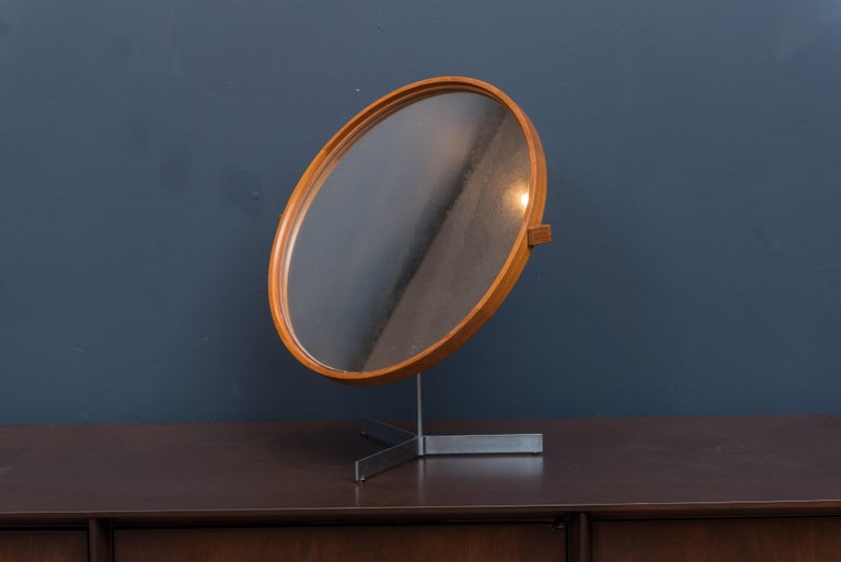 Teak Danish Vanity Mirror For Sale