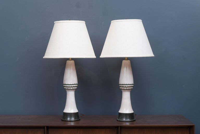 Pair of midcentury ceramic table lamps by Wilshire House, Los Angeles.