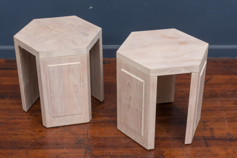 Pair of hexagonal side tables by McGuire, San Francisco. Simple but refined design made from redwood with a white washed finish.