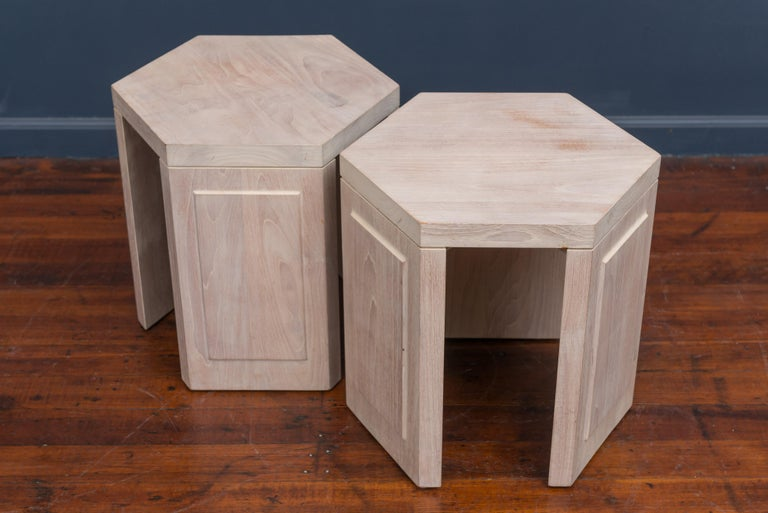 Modern Pair of Hexagonal Side Tables by McGuire For Sale