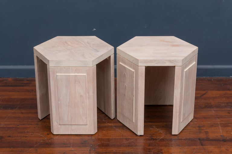 American Pair of Hexagonal Side Tables by McGuire For Sale