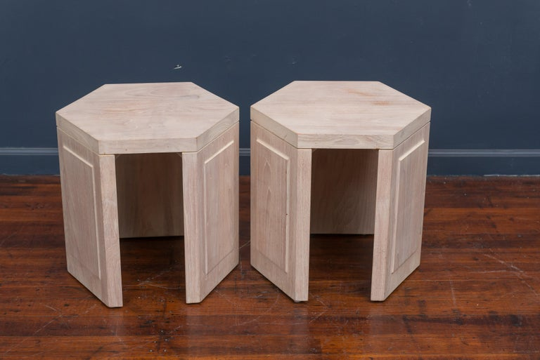 Late 20th Century Pair of Hexagonal Side Tables by McGuire For Sale