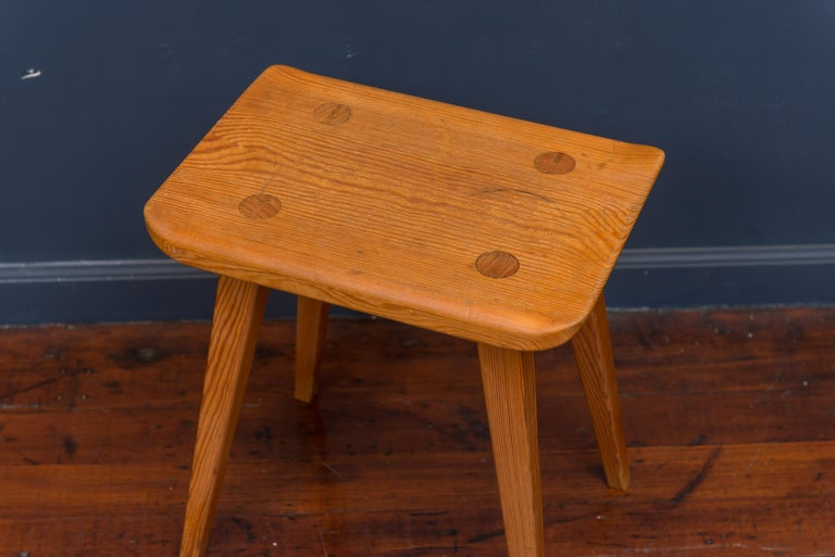Carl Malmsten stool simple but elegant hand made craftsmanship with signature leg construction, Sweden.