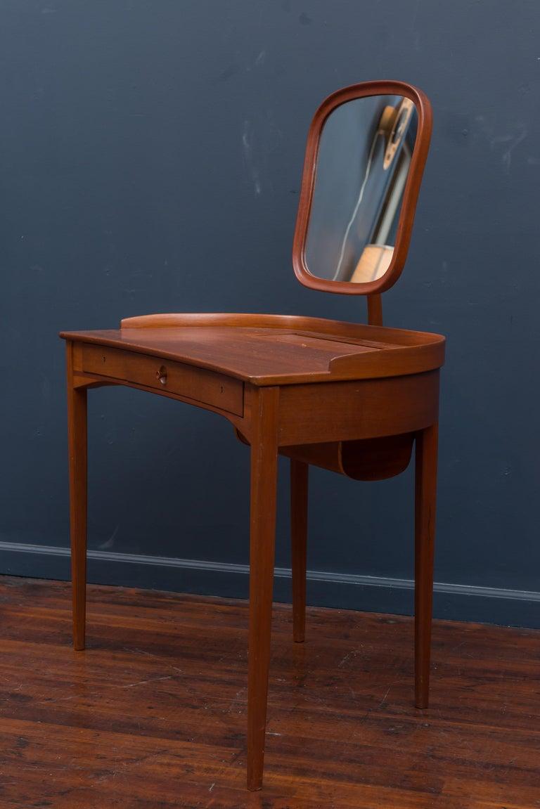 Teak Carl Malmsten Vanity Table with Mirror For Sale