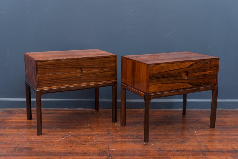 Pair of Askel Kjersgaard Danish rosewood nightstands or end tables for Odder, Denmark. Newly refinished and labelled.