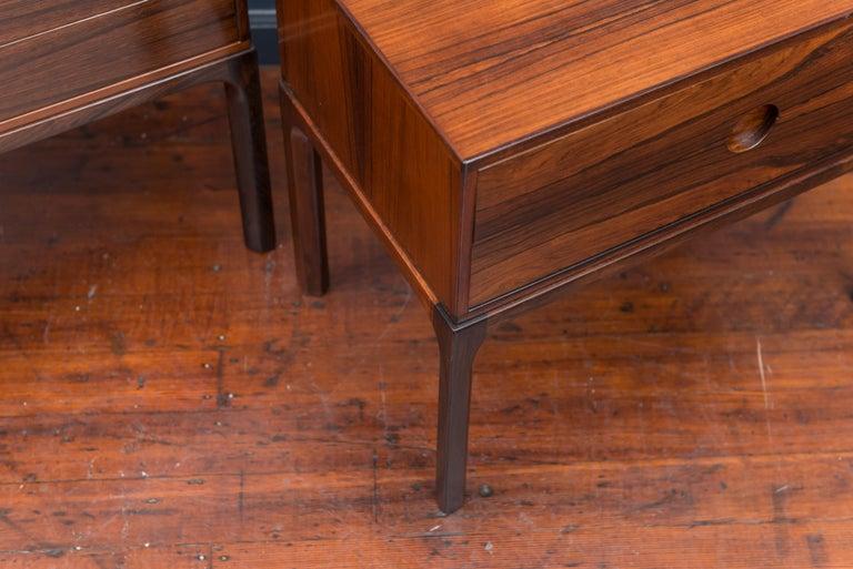 Scandinavian Modern Askel Kjersgaard Danish Rosewood Nightstands for Odder For Sale