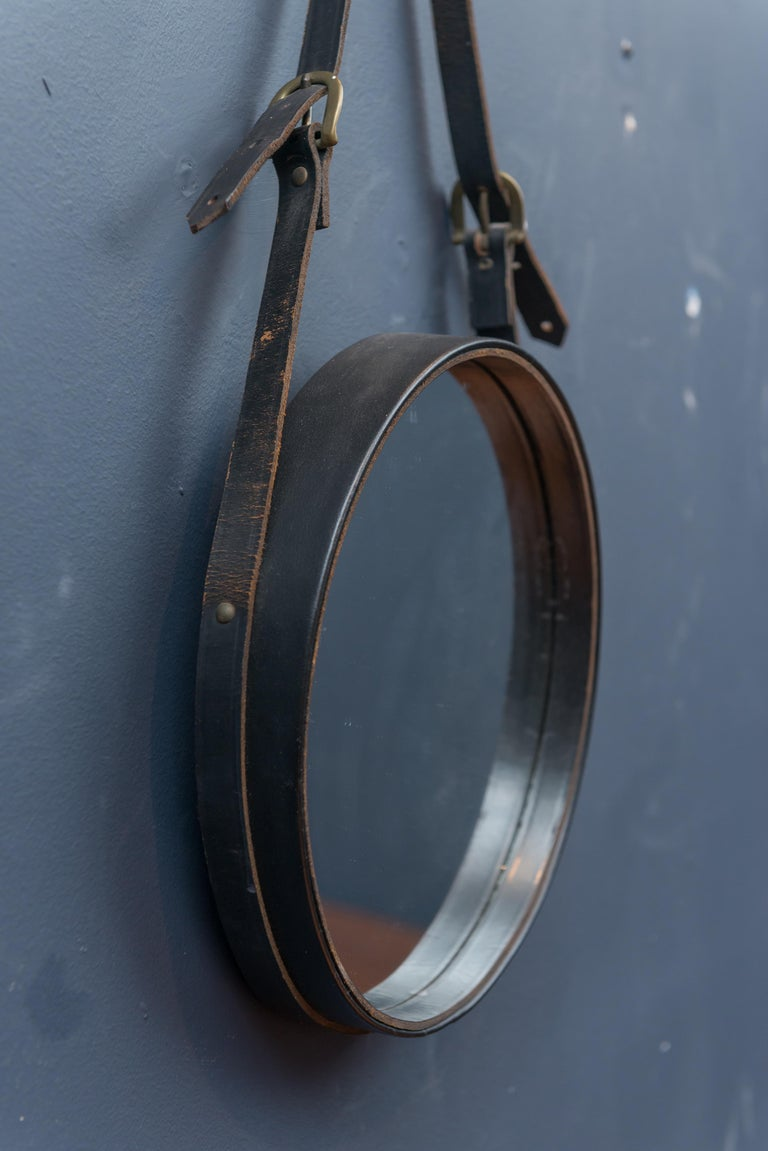 French Leather Round Wall Mirror In Fair Condition For Sale In San Francisco, CA