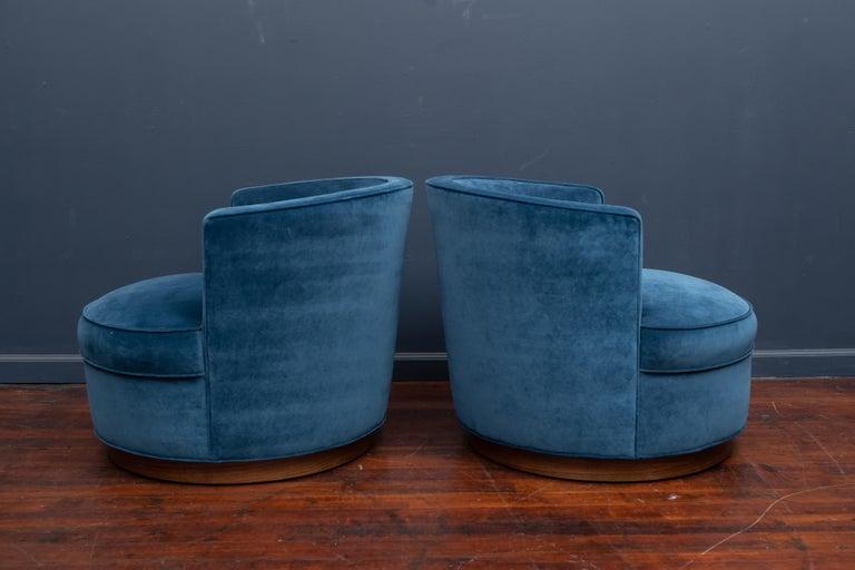Upholstery Dunbar Swivel Club Chairs For Sale