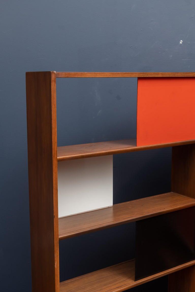Evans Clark room divider or bookshelf made from walnut with sliding dividers for Glenn of California.