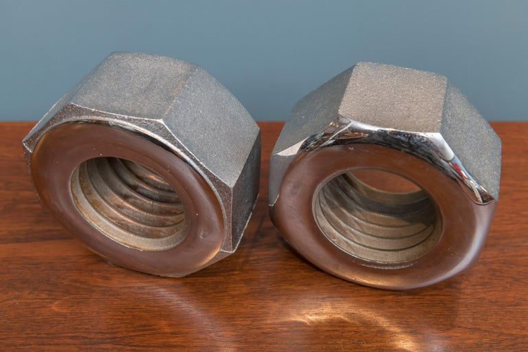 Mid-Century Modern Bill Curry Design Line Nut Bookends Steel Signed California, USA, 1970s For Sale
