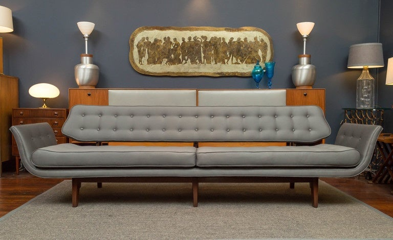 La Gondola sofa designed by Edward Wormley for Dunbar Furniture Co. model 5719, is representative of Wormley's best designs and work for Dunbar, this is in my opinion his very best sofa. The solid mahogany frame has been perfectly refinished in