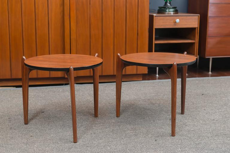 Pair of Adrian Pearsall side tables for Craft Associates made from walnut and newly refinished.