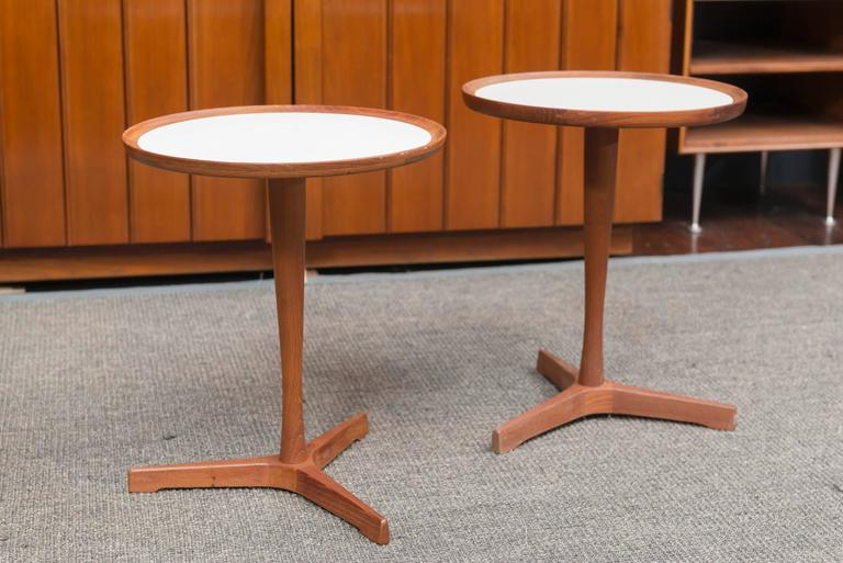 Danish teak and white laminate side table designed by Hans C Andersen, Denmark.  Sold individually $950.00 each.
