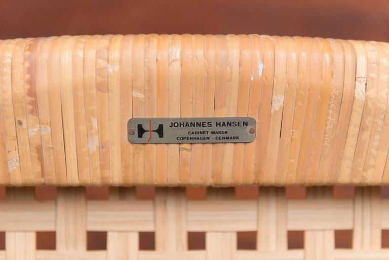 Hans Wegner Cane and Teak Stool for Johannes Hansen In Excellent Condition For Sale In San Francisco, CA
