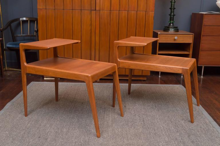 Danish modern teak side tables designed by Kurt Ostervig, Denmark. Newly refinished and ready to enjoy.
