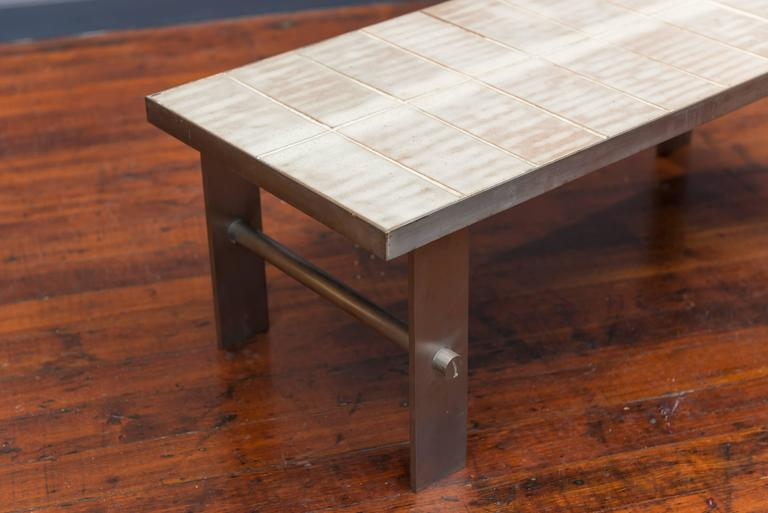Mid-Century Modern French Tile and Steel Coffee Table
