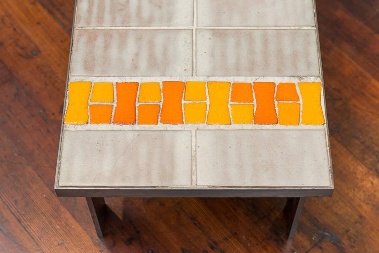 Late 20th Century French Tile and Steel Coffee Table