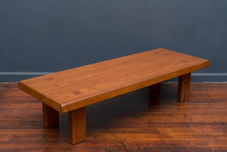 Late 20th Century Pierre Chapo French Elm Coffee Table For Sale
