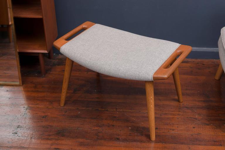 Scandinavian Modern Hans Wegner Papa Bear Chair and Ottoman For Sale