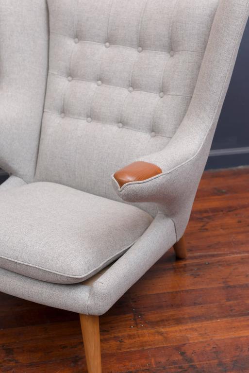 Danish Hans Wegner Papa Bear Chair and Ottoman For Sale