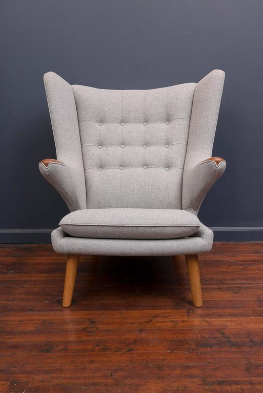 Hans Wegner Papa Bear Chair and Ottoman In Excellent Condition For Sale In San Francisco, CA