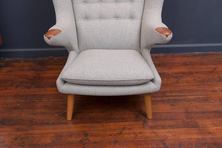 Mid-20th Century Hans Wegner Papa Bear Chair and Ottoman For Sale