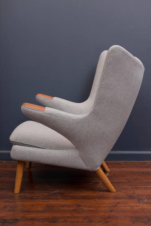 Hans Wegner Papa Bear Chair and Ottoman For Sale 1