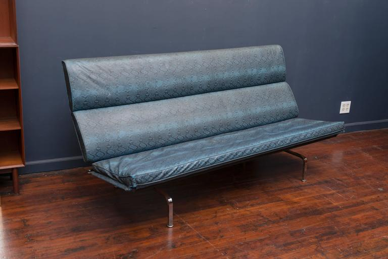 Early original Charles and Ray Eames design compact sofa for Herman Miller. Purchased by a local advertising agency furnished exclusively in iconic Herman Miller and Knoll pieces and featured in the Herman Miller book of Interiors (Morrisson Travel