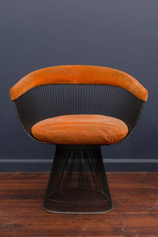 Warren Platner Bronze Dining Chairs for Knoll In Excellent Condition For Sale In San Francisco, CA