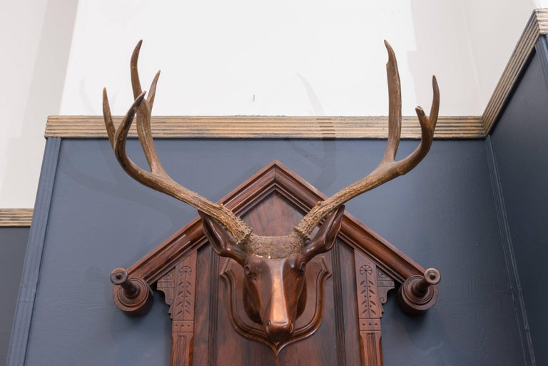 Black Forest Folk Art Deer Head Coat Rack In Good Condition For Sale In San Francisco, CA