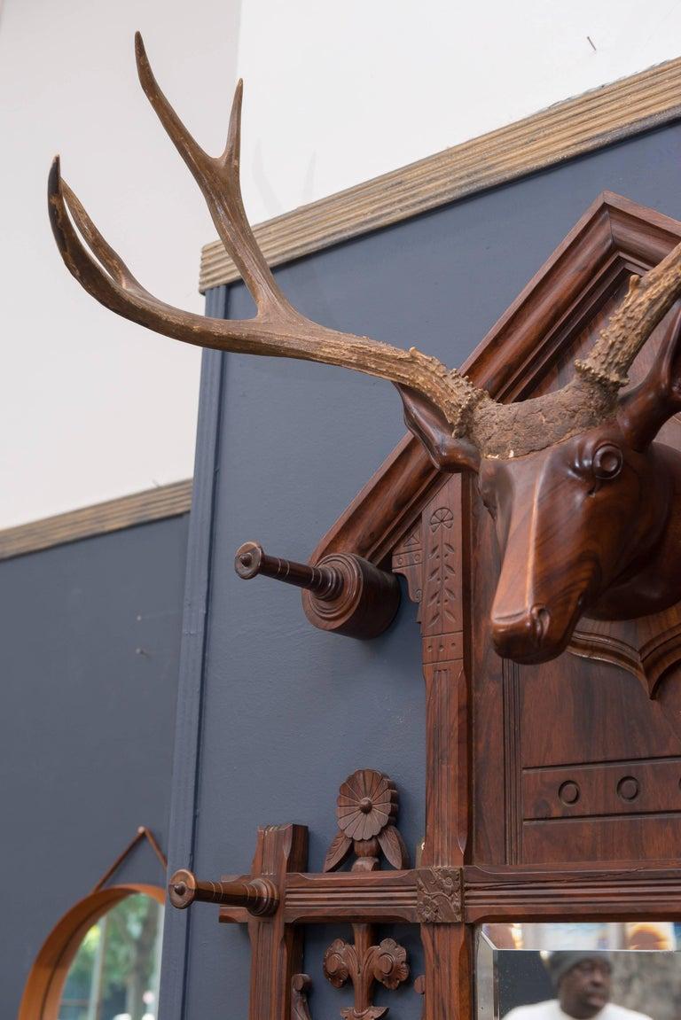 Black Forest Folk Art Deer Head Coat Rack For Sale 3