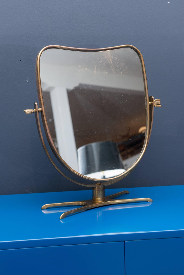 Italian Brass Vanity or Tabletop Mirror 2