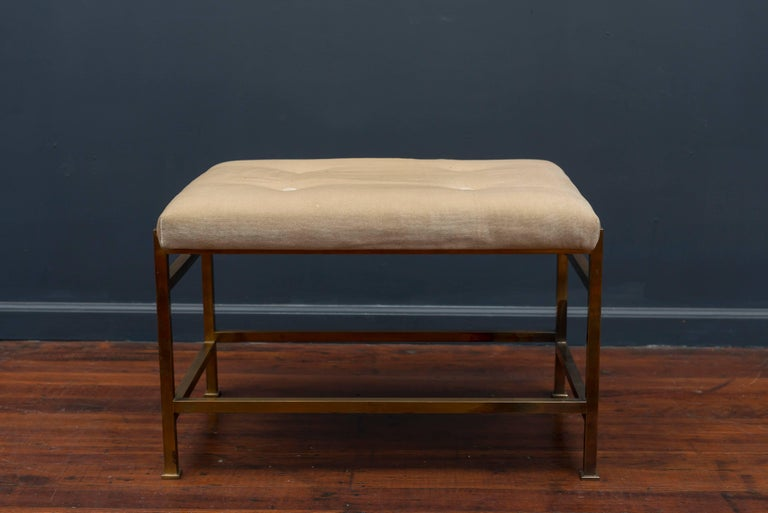 Sophisticated brass square frame bench designed by Edward Wormley for Dunbar. Very good original condition, Model #5428.