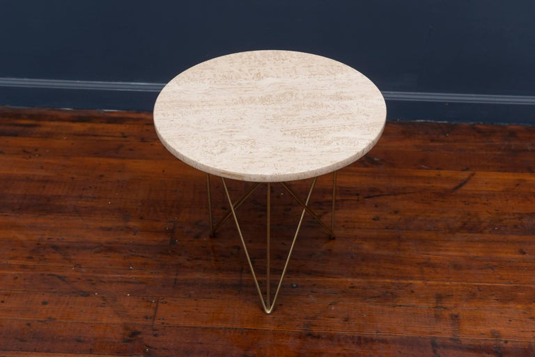 Rene Brancusi Travertine Side Table 2