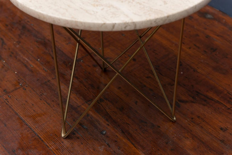 Mid-Century Modern Rene Brancusi Travertine Side Table For Sale