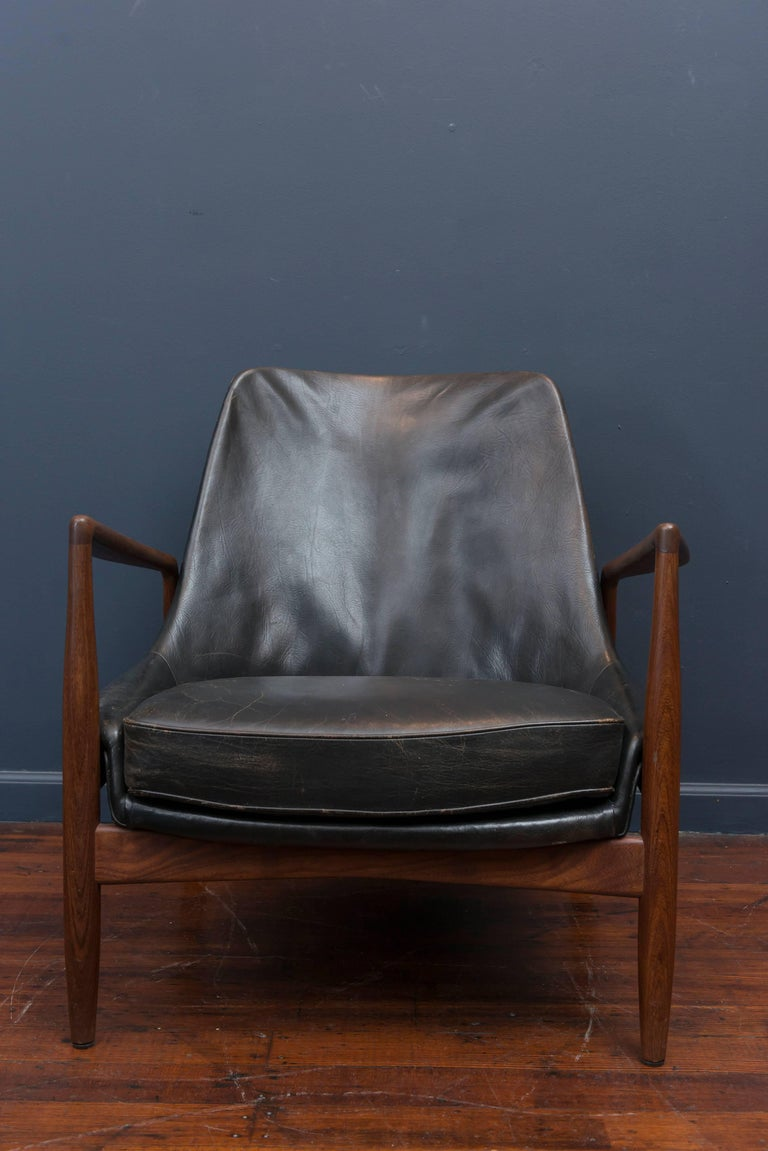 Danish Ib Kofod-Larsen Leather Seal Chair for OPE For Sale