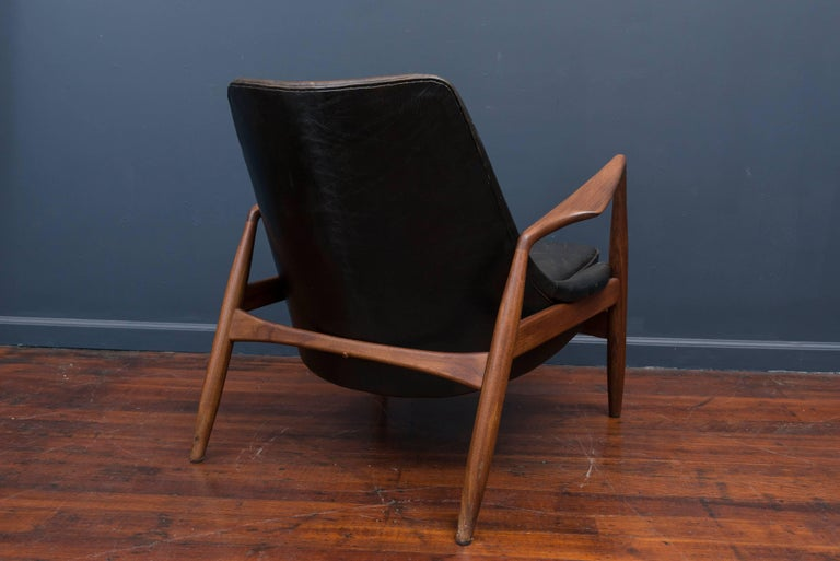 Teak Ib Kofod-Larsen Leather Seal Chair for OPE For Sale