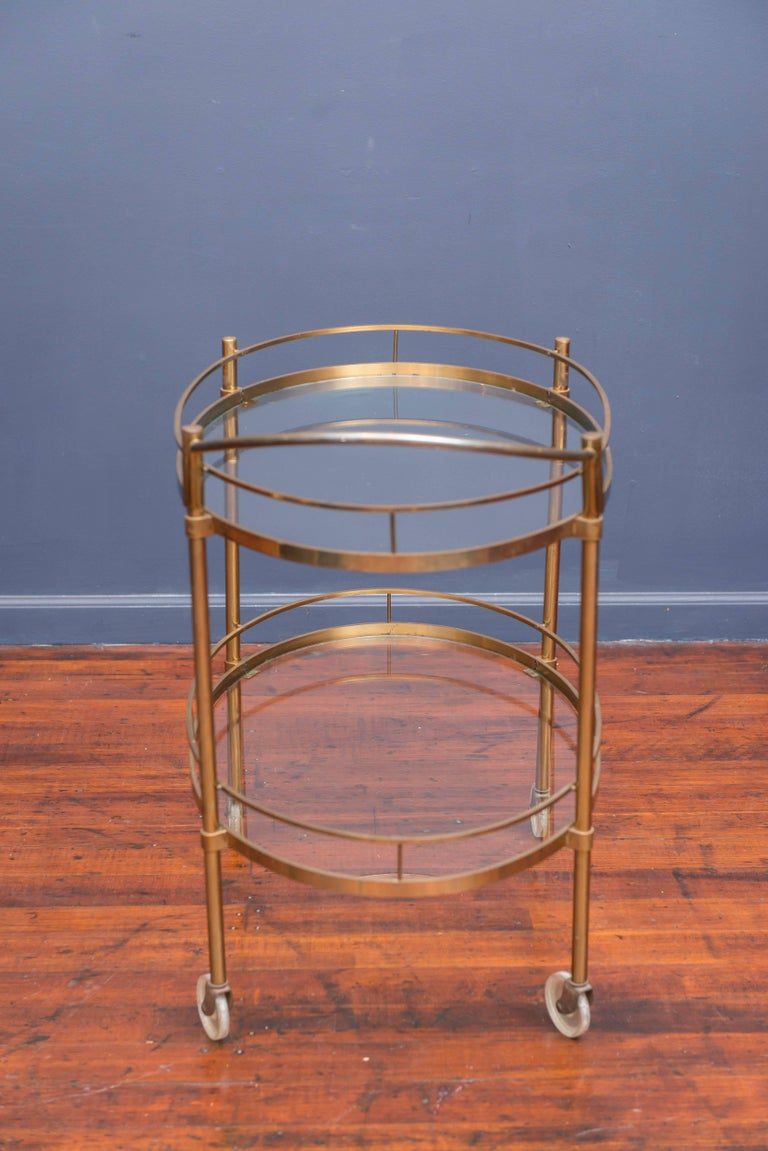 Late 20th Century Hollywood Regency Brass Bar Cart For Sale