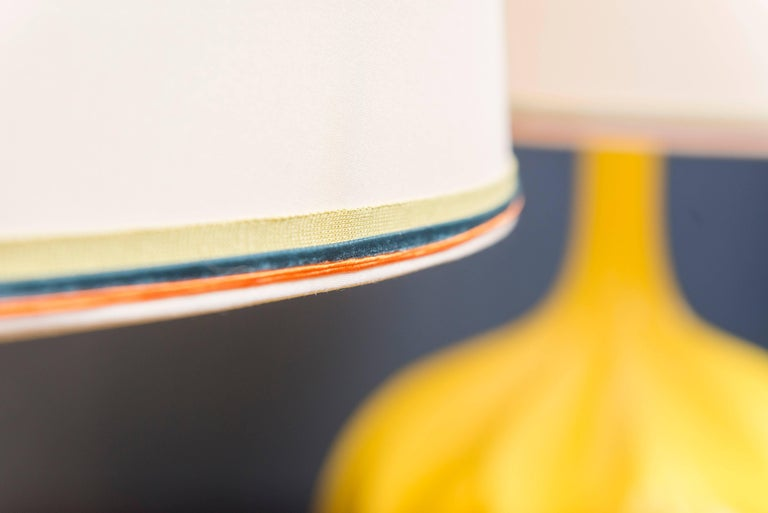 Ceramic Mid-Century Yellow Lamps For Sale