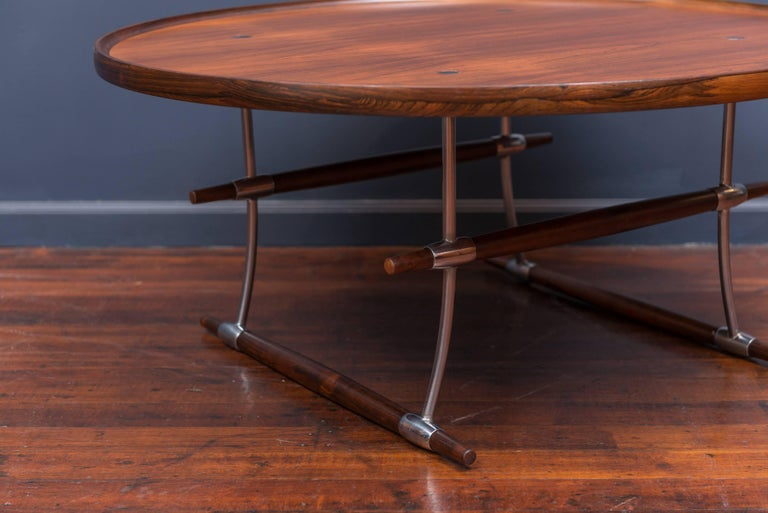 Exceptional and rare Stokke coffee table designed by Jens Quistgaard for Nissan, Denmark. Perfectly refinished and polished.
