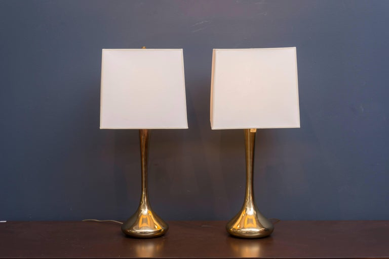 Pair of brass Laurel lamps, shades not included.