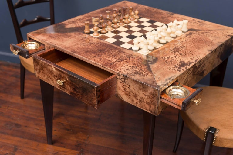 Mid-Century Modern Aldo Tura Games Table and Chairs For Sale