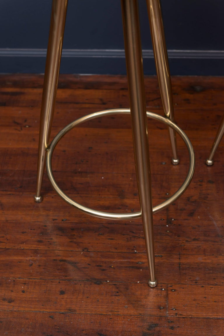 Italian Pair of Brass Barstools, Italy For Sale