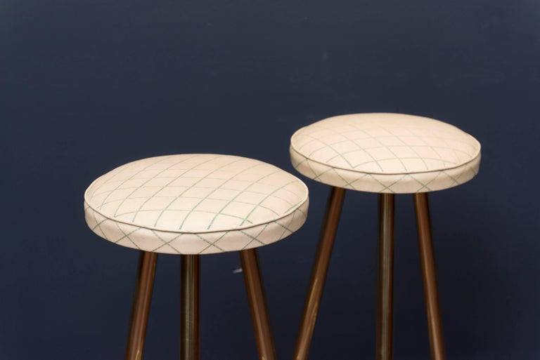 Mid-20th Century Pair of Brass Barstools, Italy For Sale