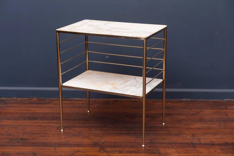 Mid-Century Modern Brass and Marble Dry Bar, Italy For Sale