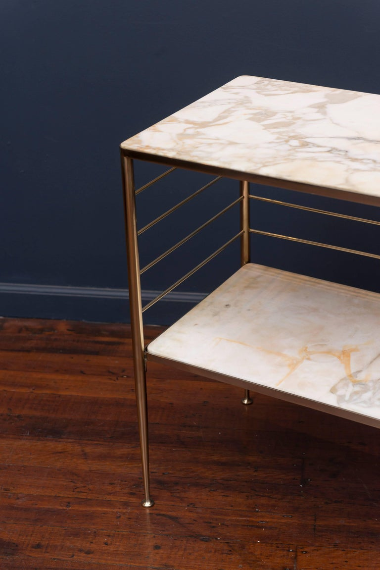 Mid-20th Century Brass and Marble Dry Bar, Italy For Sale
