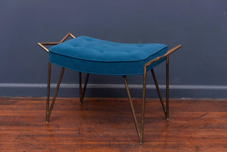 Mid-Century modern patinated brass bench newly upholstered in velvet, made in Italy.
