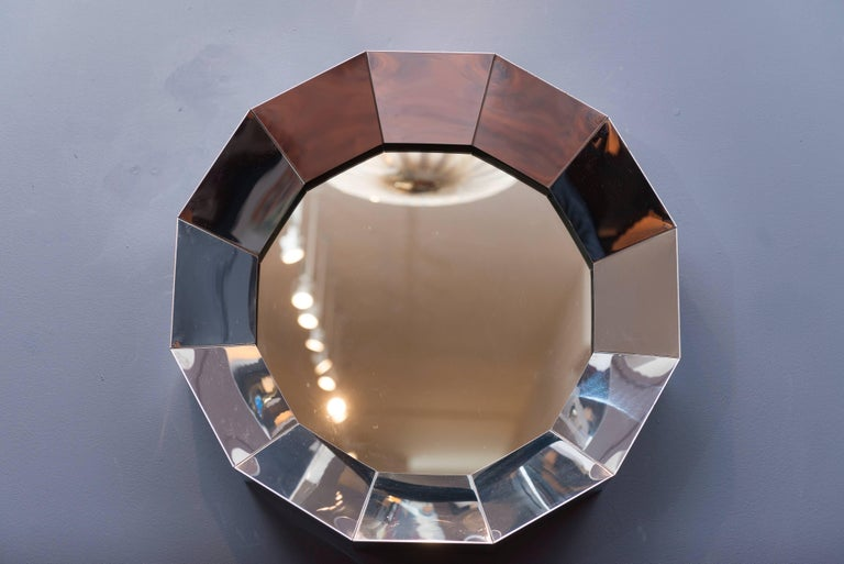 C.Jere chrome faceted mirror, signed by artist.